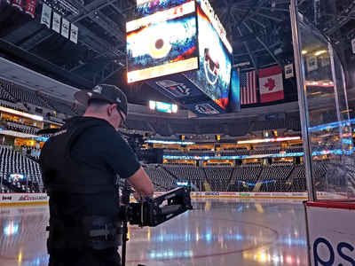 Alan Meyer operating steadicam at Pepsi Center for NHL Playoffs